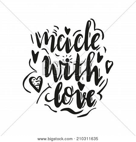 Lettering made with love. Hand drawn vector illustration, brushpen. Hand lettering quote for handcrafted products. Calligraphic logo for handmade goods.