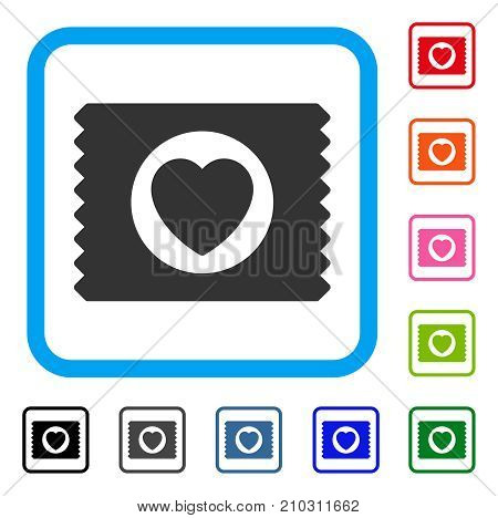Heart Condom Pack icon. Flat gray iconic symbol inside a light blue rounded squared frame. Black, gray, green, blue, red, orange color variants of Heart Condom Pack vector.