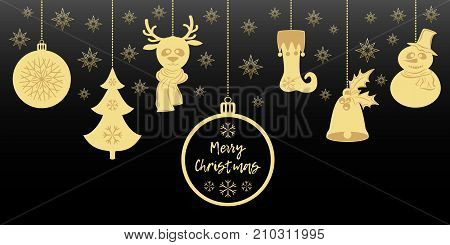Gold Christmas pendants a bell with holly, ball, fir-tree with snowflakes, a deer in scarf, snowman in a hat, stocking. A border isolated on black background. Vector illustration for your design