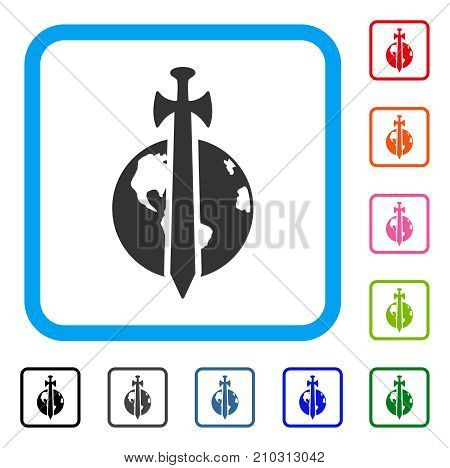 Earth Military Protection icon. Flat grey iconic symbol inside a light blue rounded square. Black, gray, green, blue, red, orange color versions of Earth Military Protection vector.