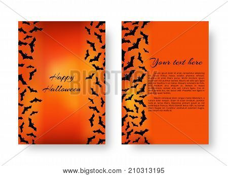 Scary greeting card template with black bats for festive Halloween design on the orange backdrop. Vector illustration.