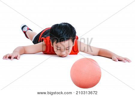 Accidents In Sports. Child In Prone Position Unconscious With Ball. Isolated On White.