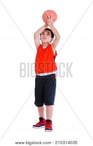 Asian Basketball Player Prepare To Throw The Ball. Isolated On White Background.