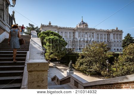 Madrid, Spain - October 15, 2017: Sabatini Gardens and Royal Palace of Madrid. The Sabatini Gardens are part of the Royal Palace in Madrid, Spain.