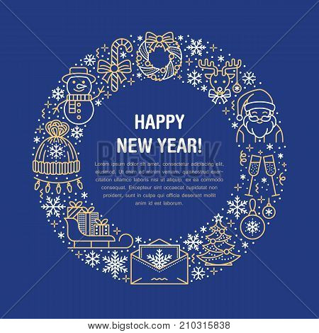 Christmas new year banner illustration. Vector line icon of winter holidays christmas tree, gift, santa claus letter, presents, wreath. Celebration party blue gold circle template with place for text.