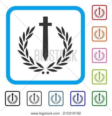 Sword Honor Embleme icon. Flat grey iconic symbol inside a light blue rounded squared frame. Black, gray, green, blue, red, orange color versions of Sword Honor Embleme vector.