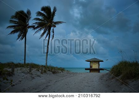 Beautiful beach view. small lifeguard house palm trees and ocean on late evening light.