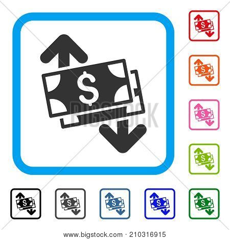 Banknotes Spending icon. Flat gray pictogram symbol inside a light blue rounded squared frame. Black, gray, green, blue, red, orange color versions of Banknotes Spending vector.