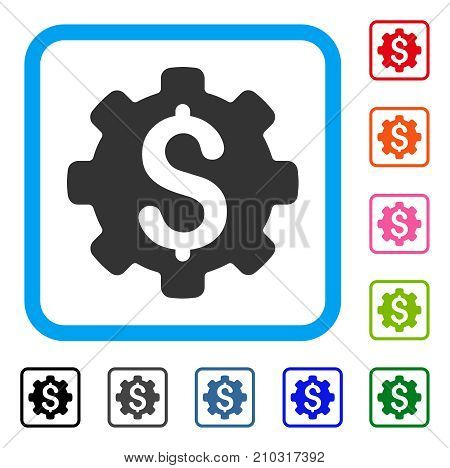 Industrial Capital icon. Flat grey pictogram symbol inside a light blue rounded rectangle. Black, gray, green, blue, red, orange color additional versions of Industrial Capital vector.