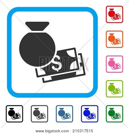 Money Bag icon. Flat gray iconic symbol in a light blue rounded rectangular frame. Black, gray, green, blue, red, orange color variants of Money Bag vector. Designed for web and software UI.
