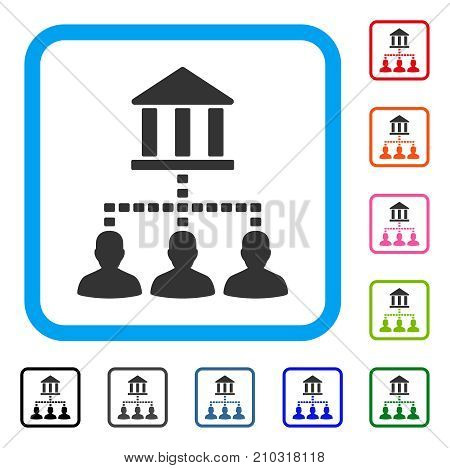 Bank Building Client Links icon. Flat gray pictogram symbol inside a light blue rounded squared frame. Black, gray, green, blue, red, orange color variants of Bank Building Client Links vector.