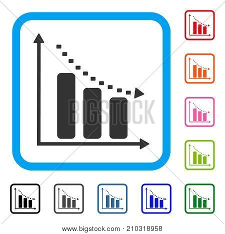 Dotted Negative Trend icon. Flat gray iconic symbol in a light blue rounded square. Black, gray, green, blue, red, orange color versions of Dotted Negative Trend vector.