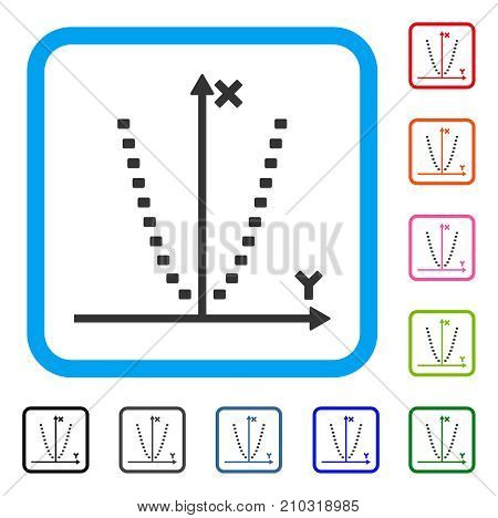 Dotted Parabola Plot icon. Flat grey pictogram symbol inside a light blue rounded square. Black, gray, green, blue, red, orange color variants of Dotted Parabola Plot vector.