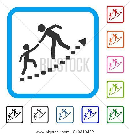 Education Progress icon. Flat gray pictogram symbol inside a light blue rounded squared frame. Black, gray, green, blue, red, orange color variants of Education Progress vector.
