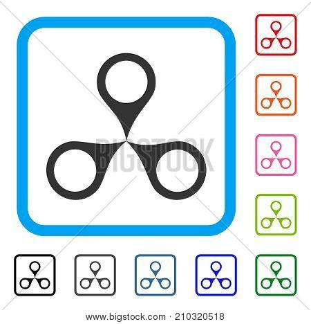 Map Markers icon. Flat gray pictogram symbol inside a light blue rounded square. Black, gray, green, blue, red, orange color versions of Map Markers vector. Designed for web and application UI.