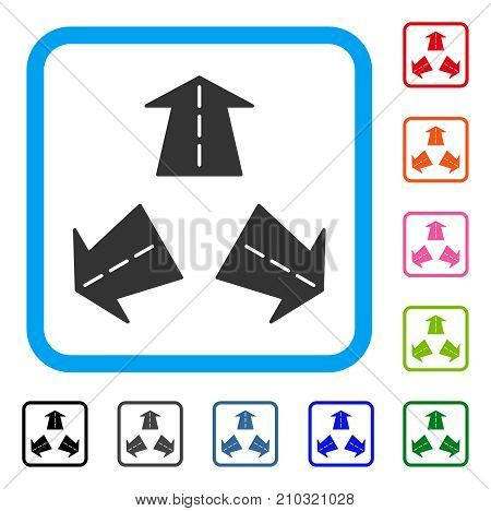 Road Directions icon. Flat gray iconic symbol in a light blue rounded rectangle. Black, gray, green, blue, red, orange color additional versions of Road Directions vector.