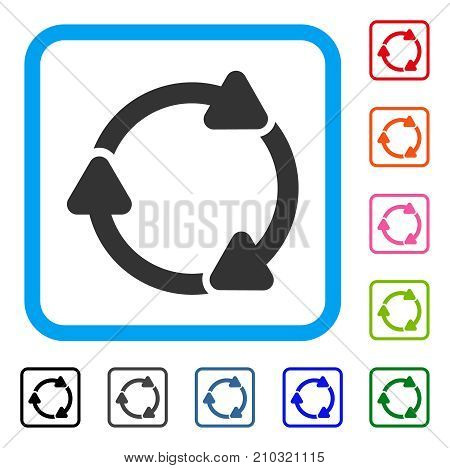 Rotate CW icon. Flat grey pictogram symbol inside a light blue rounded squared frame. Black, gray, green, blue, red, orange color variants of Rotate CW vector. Designed for web and app user interface.