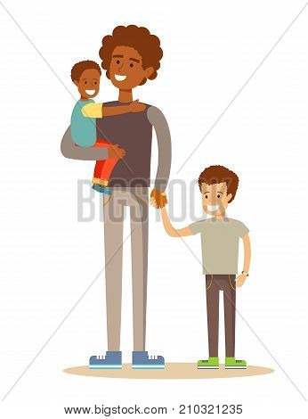 mixed-race portrait of a father with his two children having a nice time. Mixed race family. Cartoon illustration, vector.