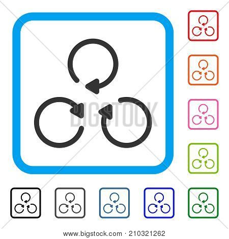 Rotation icon. Flat gray iconic symbol inside a light blue rounded frame. Black, gray, green, blue, red, orange color variants of Rotation vector. Designed for web and app user interface.