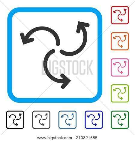Turbine Rotation icon. Flat gray pictogram symbol in a light blue rounded frame. Black, gray, green, blue, red, orange color versions of Turbine Rotation vector.
