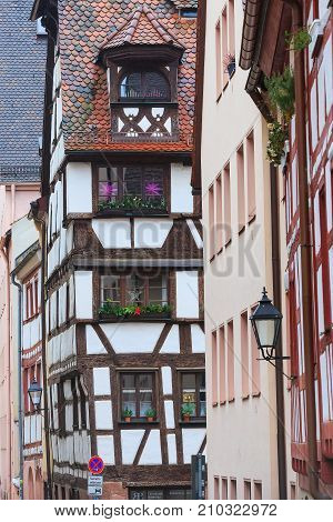 Nuremberg, Germany Christmas decorated half-timbered houses in Bavaria