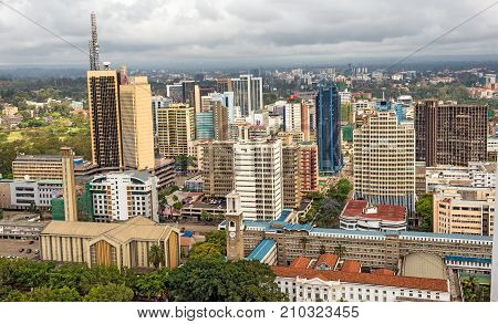NAIROBI, KENYA - OCTOBER 20, 2014 : Central business district of Nairobi viewed from the roof of Kenyatta International Conference Centre. Nairobi is the capital city of Kenya.