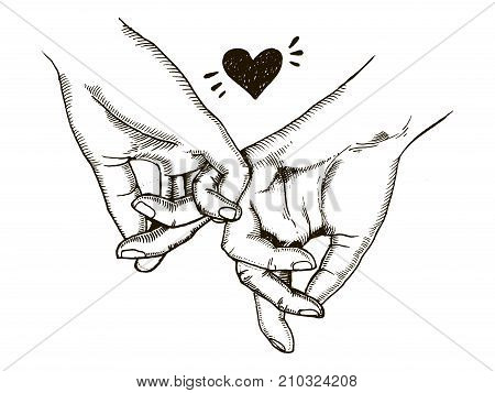 Couple in love hold hands engraving vector illustration. Scratch board style imitation. Hand drawn image.