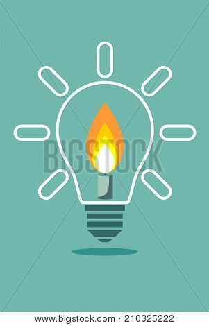 Candle on light bulb. Stock flat vector illustration.
