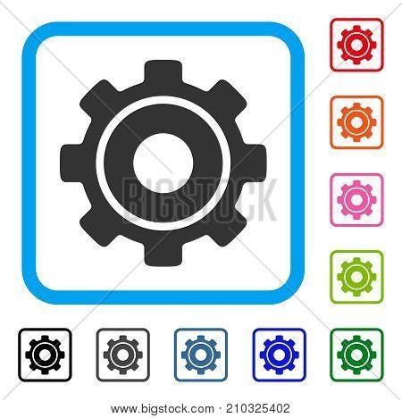 Cog icon. Flat grey iconic symbol inside a light blue rounded rectangular frame. Black, gray, green, blue, red, orange color additional versions of Cog vector.