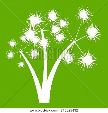 Three spiky palm trees icon white isolated on green background. Vector illustration