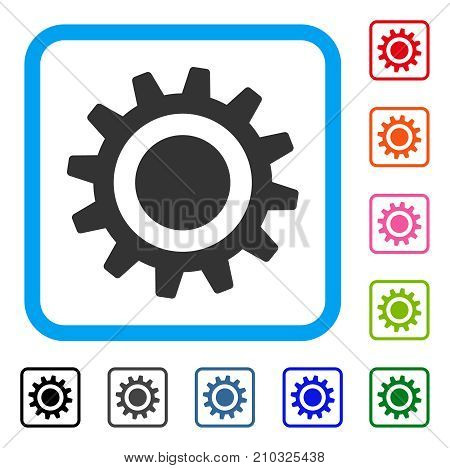 Cog icon. Flat grey iconic symbol inside a light blue rounded frame. Black, gray, green, blue, red, orange color additional versions of Cog vector. Designed for web and app UI.