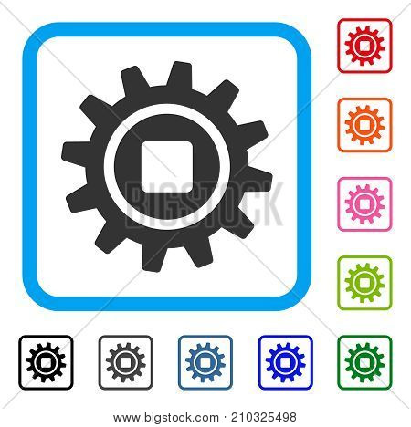 Cog icon. Flat gray pictogram symbol in a light blue rounded rectangle. Black, gray, green, blue, red, orange color variants of Cog vector. Designed for web and software UI.