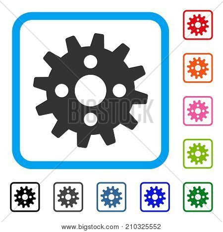 Cogwheel icon. Flat grey pictogram symbol inside a light blue rounded rectangle. Black, gray, green, blue, red, orange color versions of Cogwheel vector. Designed for web and application interfaces.