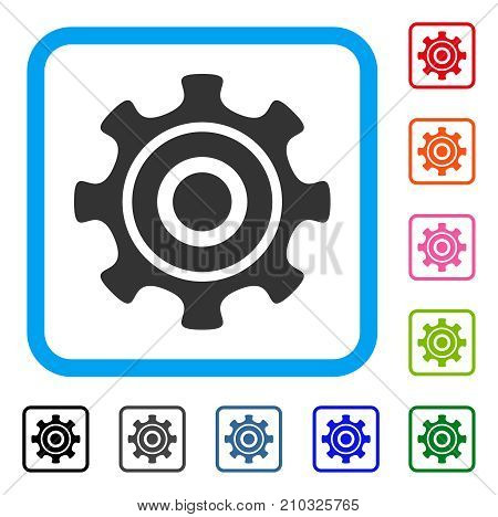 Cogwheel icon. Flat grey iconic symbol inside a light blue rounded frame. Black, gray, green, blue, red, orange color additional versions of Cogwheel vector.