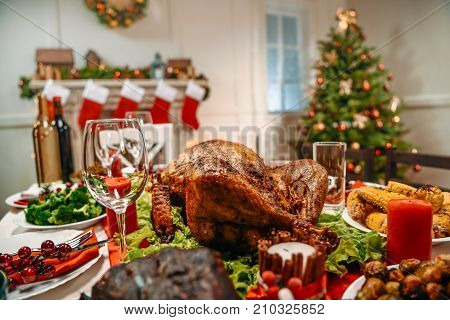 Served Table For Christmas Dinner