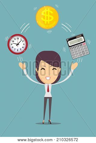 Financial advisor and time management. Bookkeeping services . Profit, finances concept. Vector, flat illustration