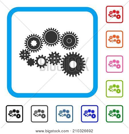 Gear Mechanism icon. Flat gray pictogram symbol inside a light blue rounded squared frame. Black, gray, green, blue, red, orange color additional versions of Gear Mechanism vector.