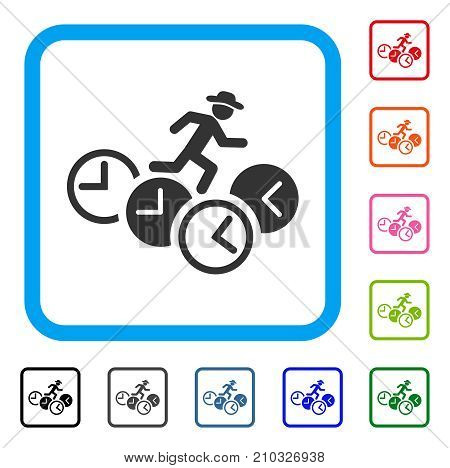 Gentleman Running Over Clocks icon. Flat grey pictogram symbol in a light blue rounded rectangle. Black, gray, green, blue, red, orange color variants of Gentleman Running Over Clocks vector.