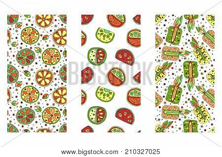 Set Of Seamless Vector Hand Drawn Childish Patterns With Fruits. Cute Childlike Watermelon, Pineappl