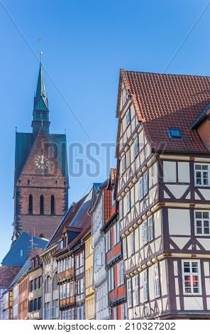 Half-timbered Houses And Church Tower In Hannover