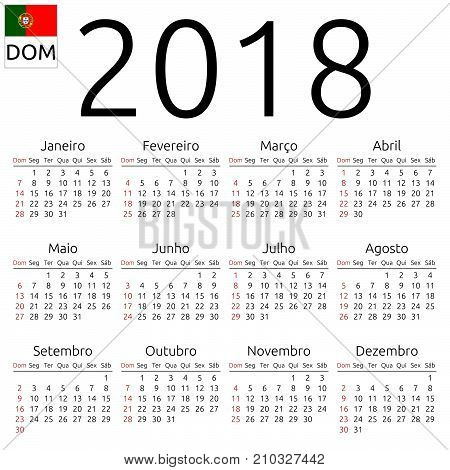 Simple annual 2018 year wall calendar. Portuguese language. Week starts on Sunday, Brazil. Sunday highlighted. No holidays highlighted. EPS 8 vector illustration, no transparency, no gradients