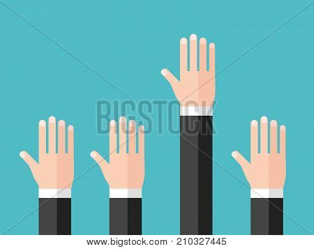 Hand of businessman raised to ask question, to answer or to volunteer. Education, training, meeting, conference and leadership concept. Flat design. Vector illustration, no transparency, no gradients
