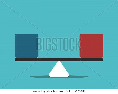 Simple seesaw scales weighing blue and red abstract cubes. Balance, comparison and equality concept. Flat design. Vector illustration, no transparency, no gradients