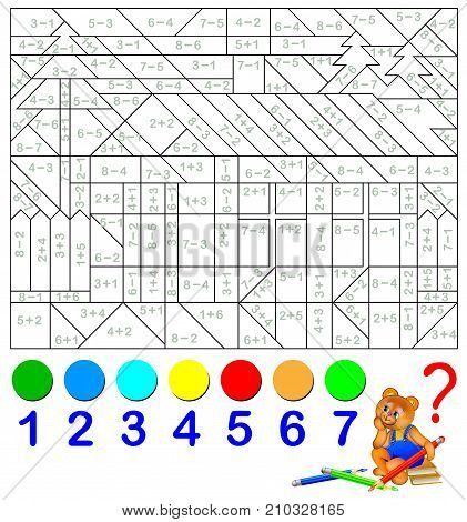Mathematical worksheet for children on addition and subtraction. Need to solve examples and paint the image in relevant colors. Developing skills for counting. Vector image.