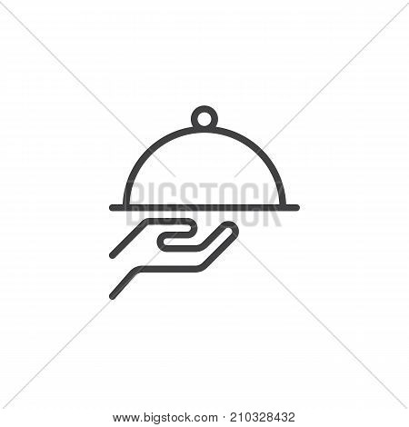 Tray in waiter hand line icon, outline vector sign, linear style pictogram isolated on white. Cloche food cover symbol, logo illustration. Editable stroke