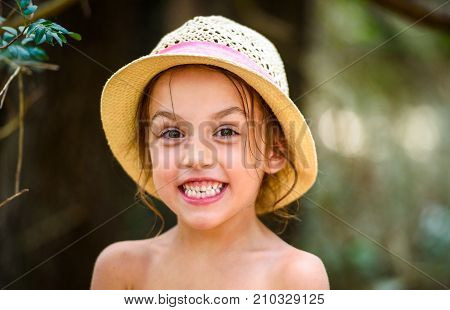 Portrait Of Happy Girl Child Is Smiling Enjoying Adopted Life.