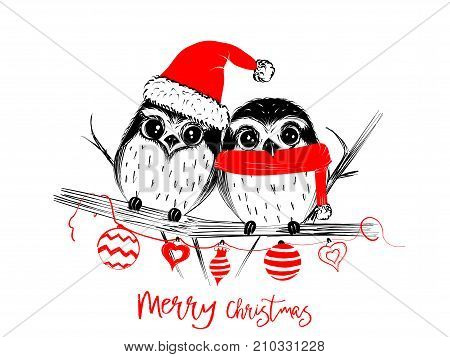 Merry Christmas greetings cards hand drawn with black and red ink pens for loving holidays - Vector Illustration isolated on white