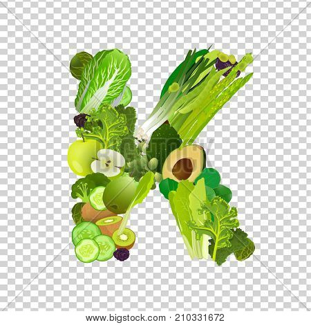 Fresh greens, vegeetables and fruits highest in vitamin K composing K letter shape. Nutrition and healthy eating concept. Beautiful vector illustration isolated on a transparent background.