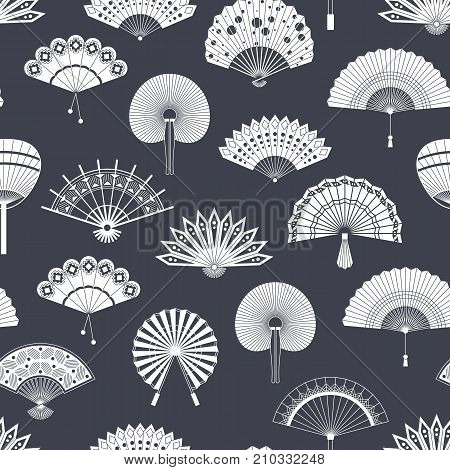 Hand paper fan vector seamless pattern. Chinese or japanese beautiful fans isolated. Black and white asian souvenir fans illustration. Flat style