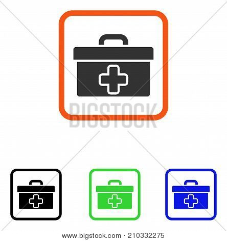 First Aid Toolbox icon. Flat grey iconic symbol in an orange rounded square. Black, green, blue color variants of First Aid Toolbox vector. Designed for web and app user interface.